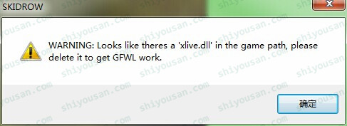 WARNING:Looks like theres a ' xlive.dll' in the game path,please delete it to get GFWL work