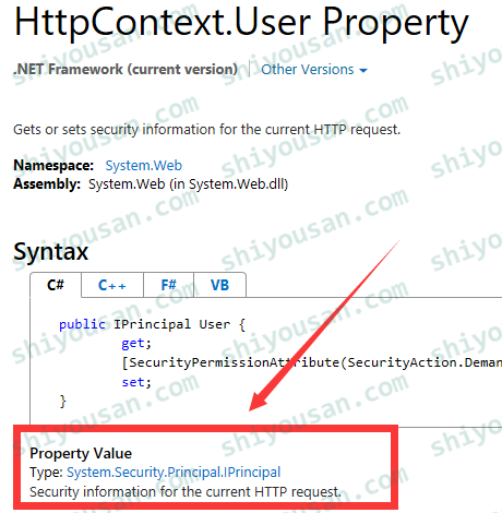 MSDN HttpContext.User Property